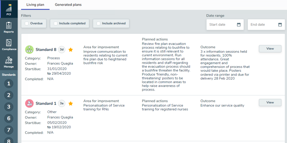 Coverage Plan for continuous improvement screenshot