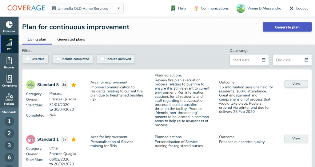 Plan for Continuous Improvement Dashboard